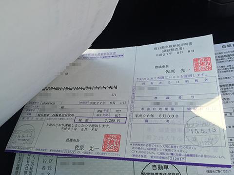 自動車税領収証
